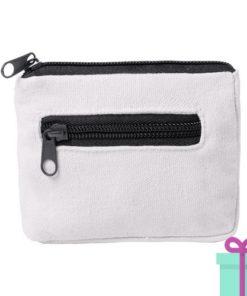 Mini portemonee wit zwart bedrukken