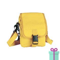 Mini schoudertas geel bedrukken