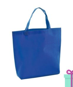 Non-woven boodschappentasje medium hengsel blauw bedrukken