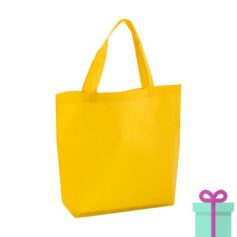 Non-woven boodschappentasje medium hengsel geel bedrukken