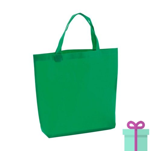 Non-woven boodschappentasje medium hengsel groen bedrukken