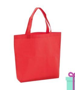 Non-woven boodschappentasje medium hengsel rood bedrukken