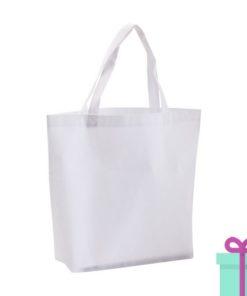 Non-woven boodschappentasje medium hengsel wit bedrukken