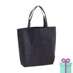 Non-woven boodschappentasje medium hengsel zwart bedrukken