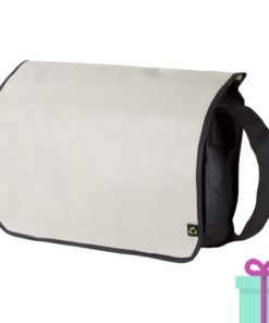 Non-woven schoudertasje beige bedrukken