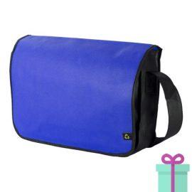 Non-woven schoudertasje blauw bedrukken