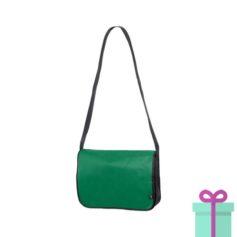 Non-woven schoudertasje groen bedrukken