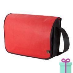 Non-woven schoudertasje rood bedrukken