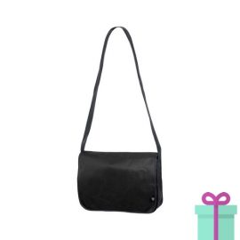 Non-woven schoudertasje zwart bedrukken