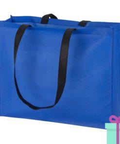 Non-woven shopper lang hengsel blauw bedrukken