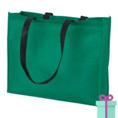 Non-woven shopper lang hengsel groen bedrukken