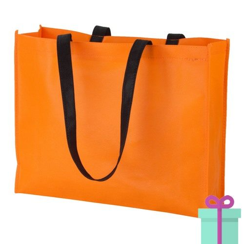 Non-woven shopper lang hengsel oranje bedrukken