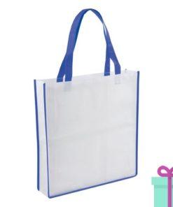 Non-woven shopper wit blauw bedrukken