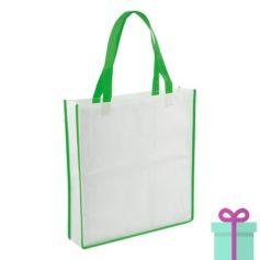 Non-woven shopper wit groen bedrukken