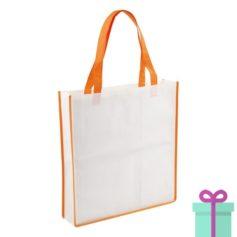 Non-woven shopper wit oranje bedrukken