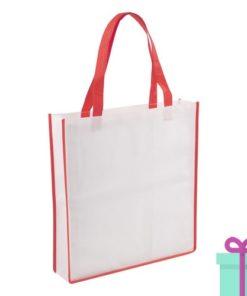 Non-woven shopper wit rood bedrukken