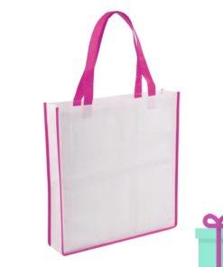 Non-woven shopper wit roze bedrukken