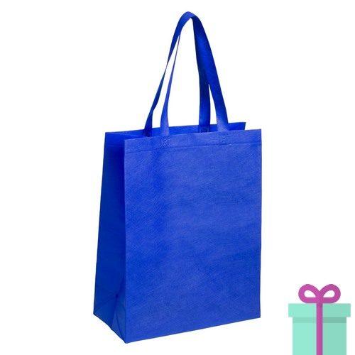 Non-woven tas met bodem blauw bedrukken