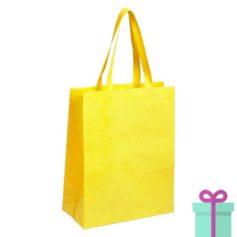 Non-woven tas met bodem geel bedrukken