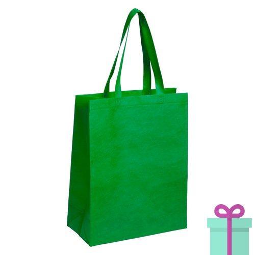 Non-woven tas met bodem groen bedrukken