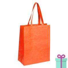 Non-woven tas met bodem oranje bedrukken