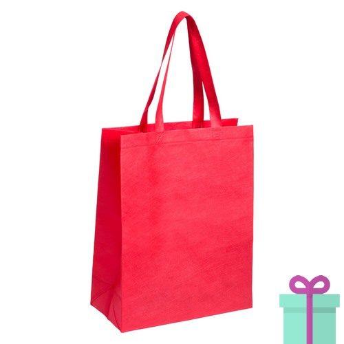 Non-woven tas met bodem rood bedrukken