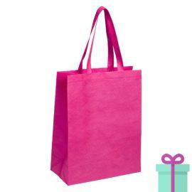 Non-woven tas met bodem roze bedrukken