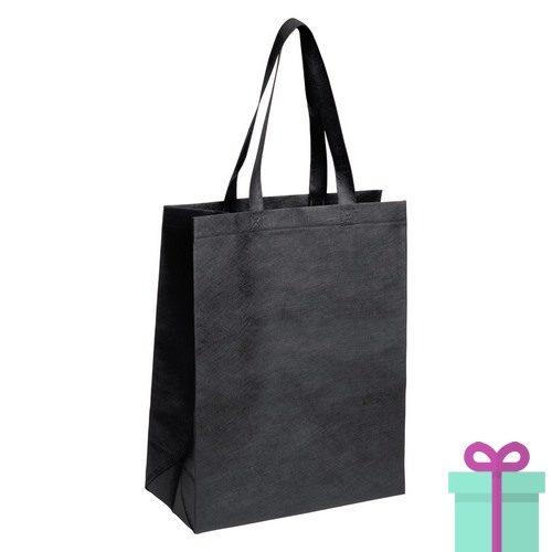 Non-woven tas met bodem zwart bedrukken