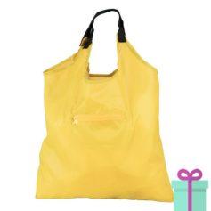 Opvouwbare boodschappentas geel bedrukken