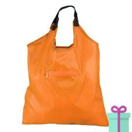 Opvouwbare boodschappentas oranje bedrukken