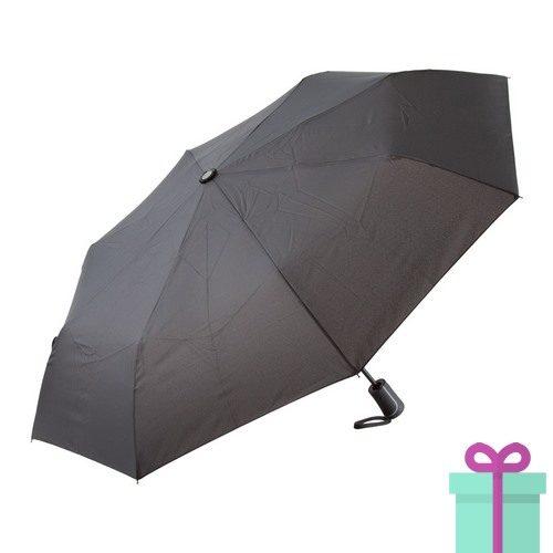 Opvouwbare handparaplu luxe zwart bedrukken