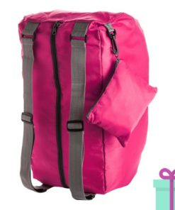 Opvouwbare nylon sporttas roze bedrukken