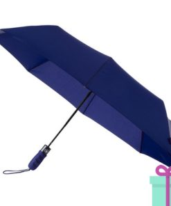 Opvouwbare paraplu automatic blauw bedrukken