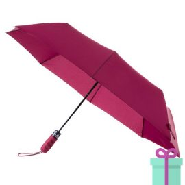 Opvouwbare paraplu automatic oranje rood bedrukken
