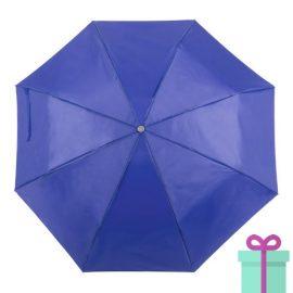 Opvouwbare paraplu met hoes blauw bedrukken
