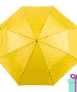 Opvouwbare paraplu met hoes geel bedrukken