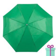 Opvouwbare paraplu met hoes groen bedrukken