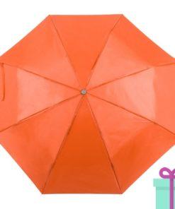 Opvouwbare paraplu met hoes oranje bedrukken
