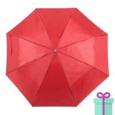 Opvouwbare paraplu met hoes rood bedrukken