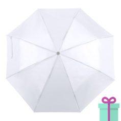 Opvouwbare paraplu met hoes wit bedrukken