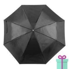 Opvouwbare paraplu met hoes zwart bedrukken