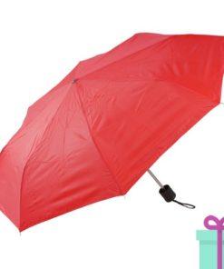 Opvouwbare paraplu poly rood bedrukken