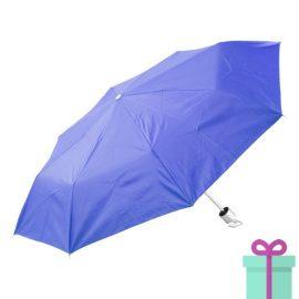 Opvouwbare paraplu zilveren binnenkant blauw bedrukken