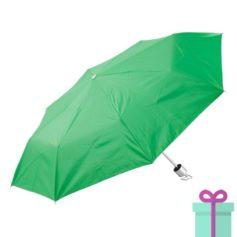 Opvouwbare paraplu zilveren binnenkant groen bedrukken