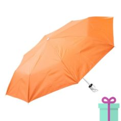 Opvouwbare paraplu zilveren binnenkant oranje bedrukken
