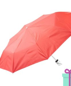 Opvouwbare paraplu zilveren binnenkant rood bedrukken