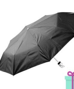 Opvouwbare paraplu zilveren binnenkant zwart bedrukken