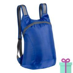 Opvouwbare rugzak karabijnhaak blauw bedrukken