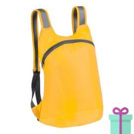 Opvouwbare rugzak karabijnhaak geel bedrukken