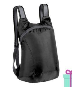 Opvouwbare rugzak karabijnhaak zwart bedrukken